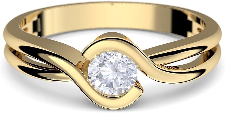 AMOONIC Anillo de oro 333 + caja! Circonita como diamante hecho con circonita, idea de regalo de compromiso, novedad anillos modernos mejor tener regalo de matrimonio joyería para mujer FF388GG333ZIFA.UK: Amazon.es: Joyería