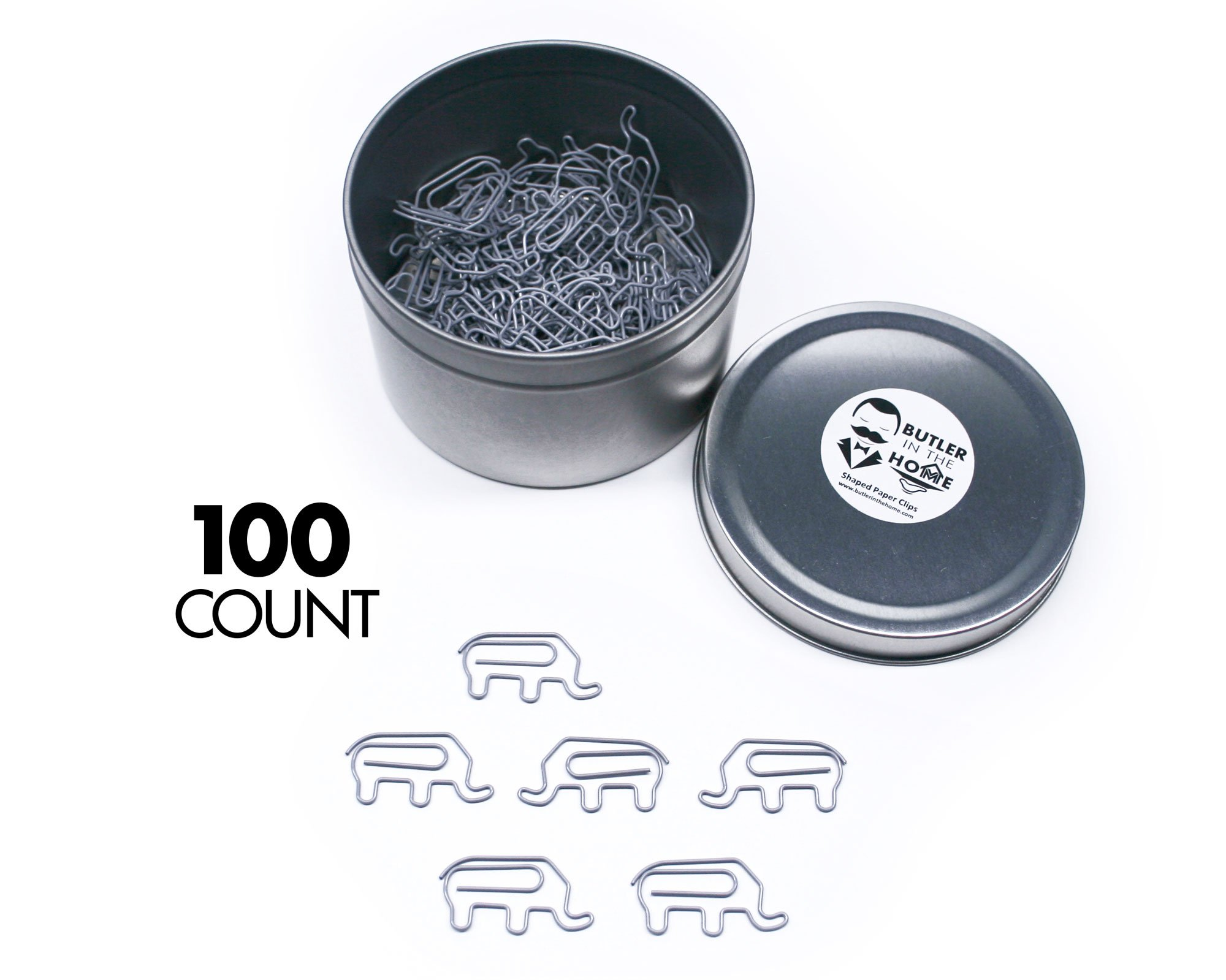 Butler in the Home Animal Elephant Shaped Paper Clips in Silver Tin and Silver Gift Box Great For Paper Clip Collectors or Zoo Animal Lovers (100 Count Gray)