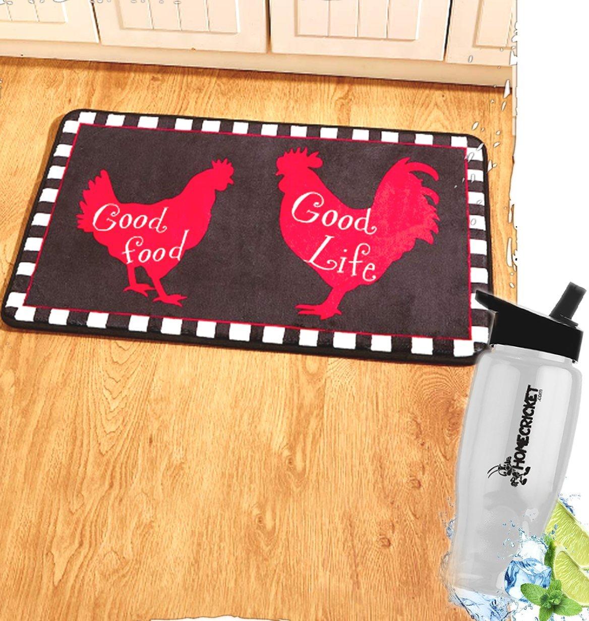 ギフトincluded-国Farmhouse Kitchen Good Food Good Life Rooster Rugキッチンマットカーペット+フリーボーナス水ボトルbyホームクリケットHomeCricket   B07D6FV7D8