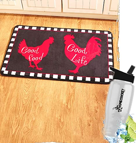 Gift Included  Country Farmhouse Kitchen Good Food Good Life Rooster Rug  Kitchen Mat Carpet +