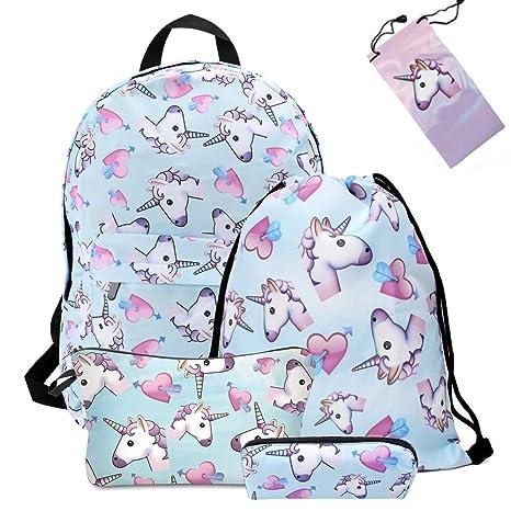 3D niñas unicornio escuela Escuela impresión gimnasio para Smallbox 2018 mochila azul moda kawaii amor patrón Bqntzgwn