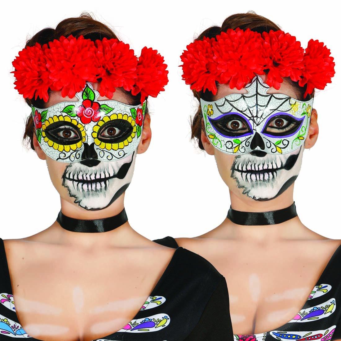 NET TOYS Antifaz Sugar Skull Máscara Mexicana de Muertos Halloween Motivo Hombre Media mascarilla La Catrina Careta Día de los Muertos Cara Calavera Rostro ...