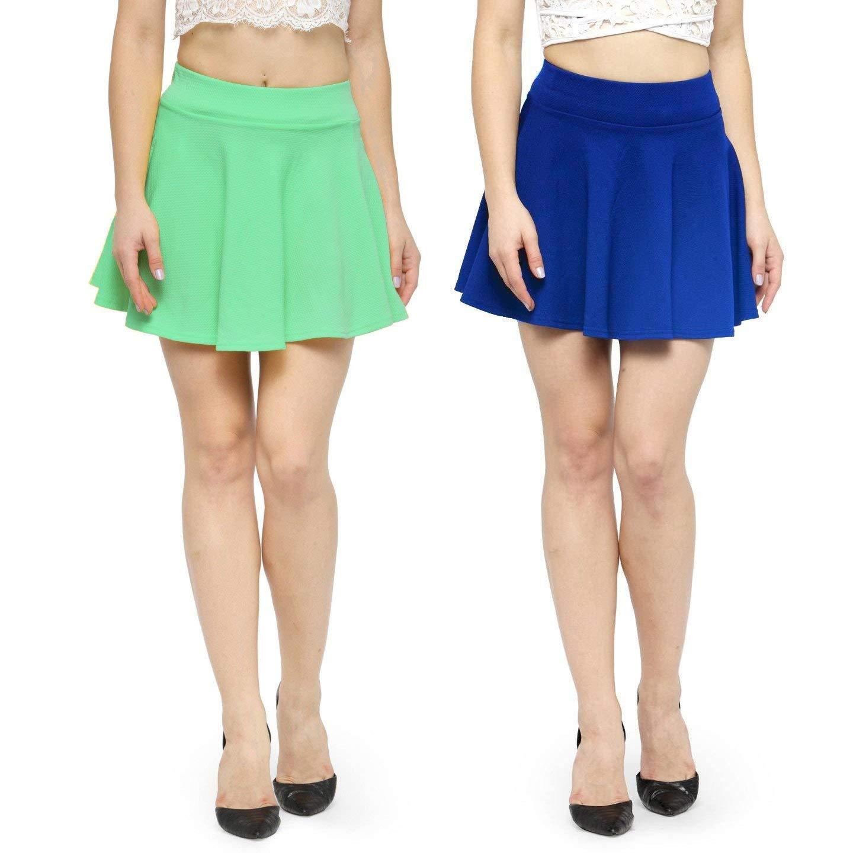 N-Gal Women's Polyester Lycra High Waist Flared Knit Skater Short Mini Skirt -Seagreen,RoyalBlue_XX-Large, Combo of 2 (B07RYPW1H3) Amazon Price History, Amazon Price Tracker