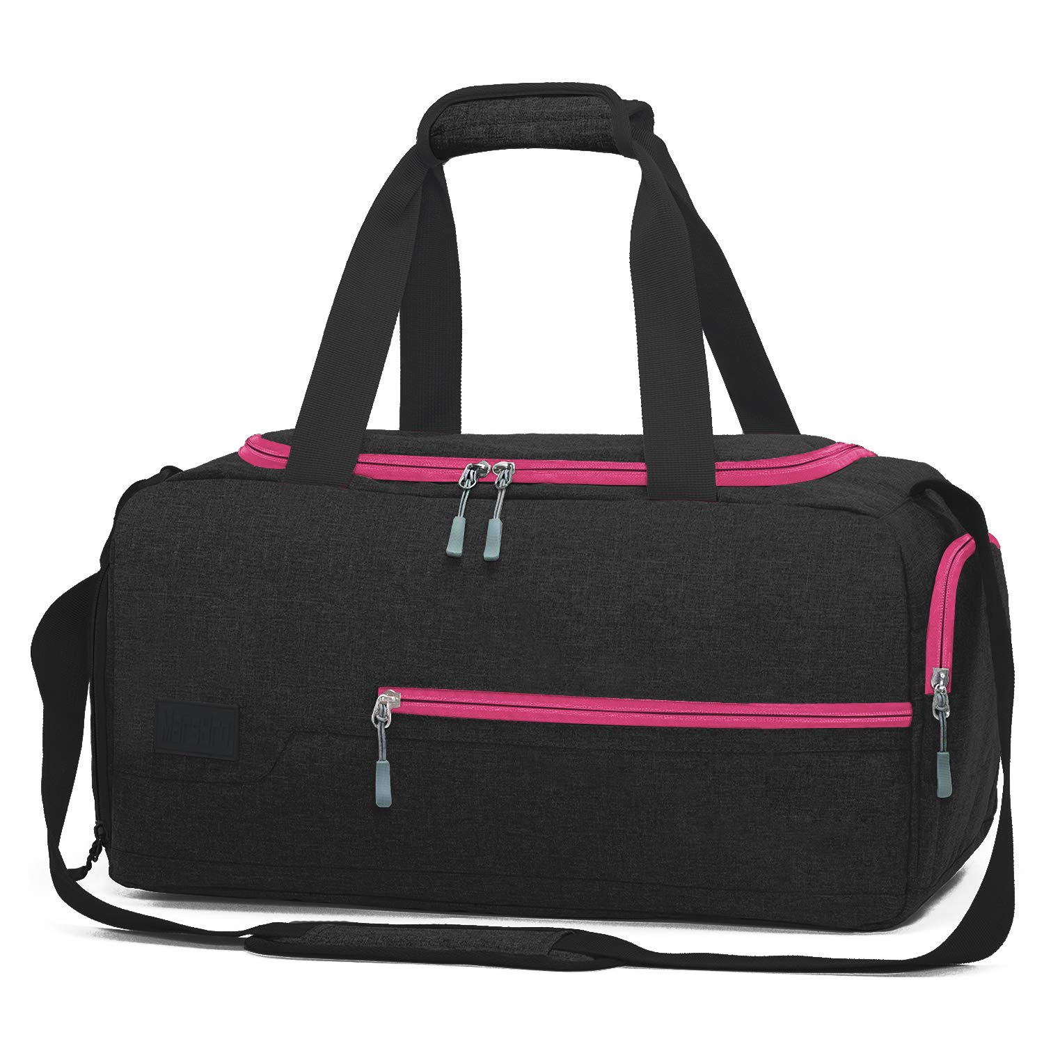 MarsBro Water Resistant Sports Gym Travel Weekender Duffel Bag with Shoe Compartment Black/Rose