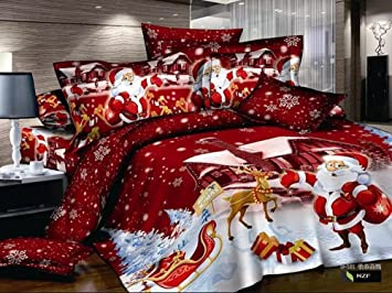 king size home textile 3d bedding sets Merry Christmas Santa Claus ...