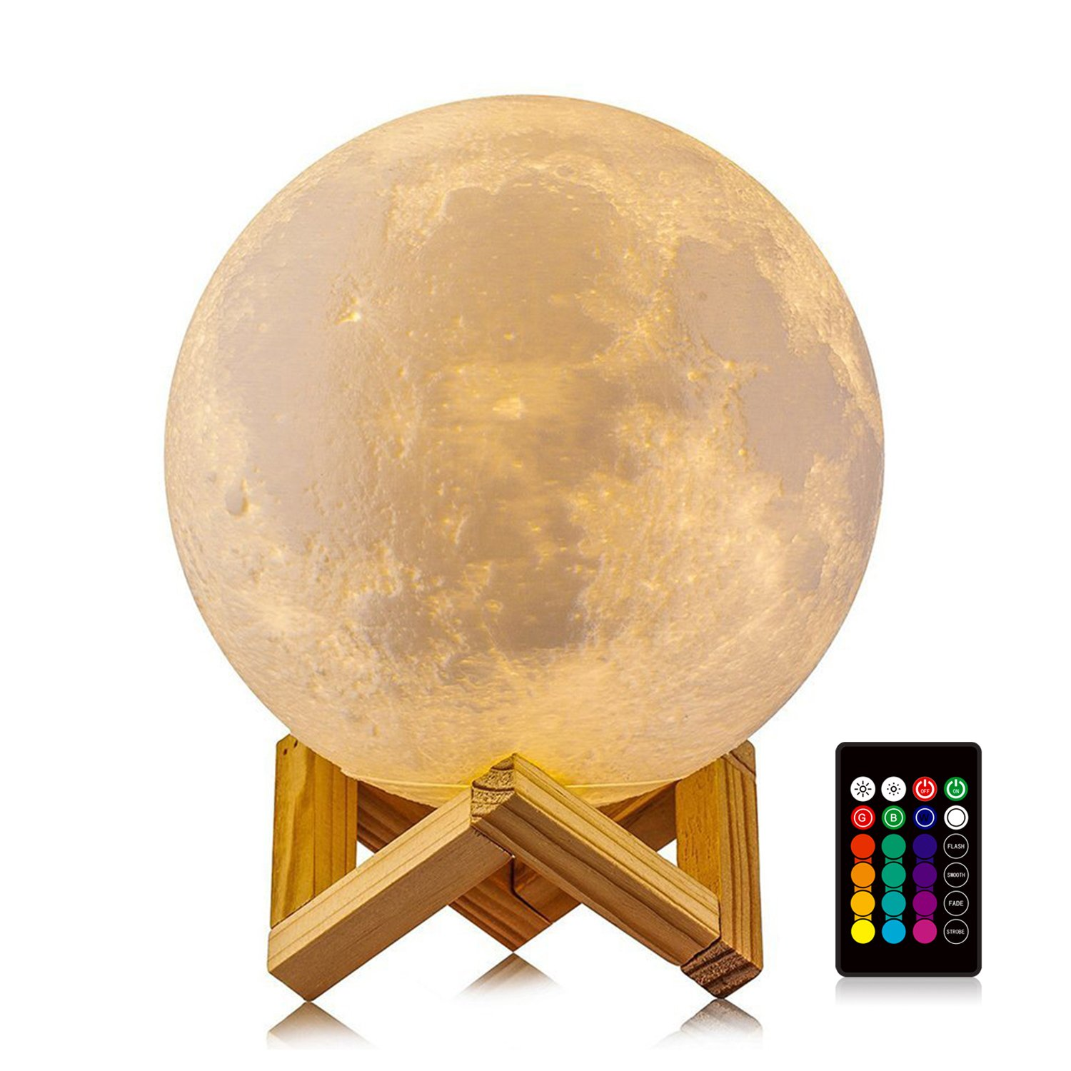 LOGROTATE Moon Lamp, 3D Print LED 16 Colors RGB Moon Light, Decorative Lights Night Light with Remote&Touch Control and Adjustable Brightness&USB Recharge(Diameter 6 INCH)