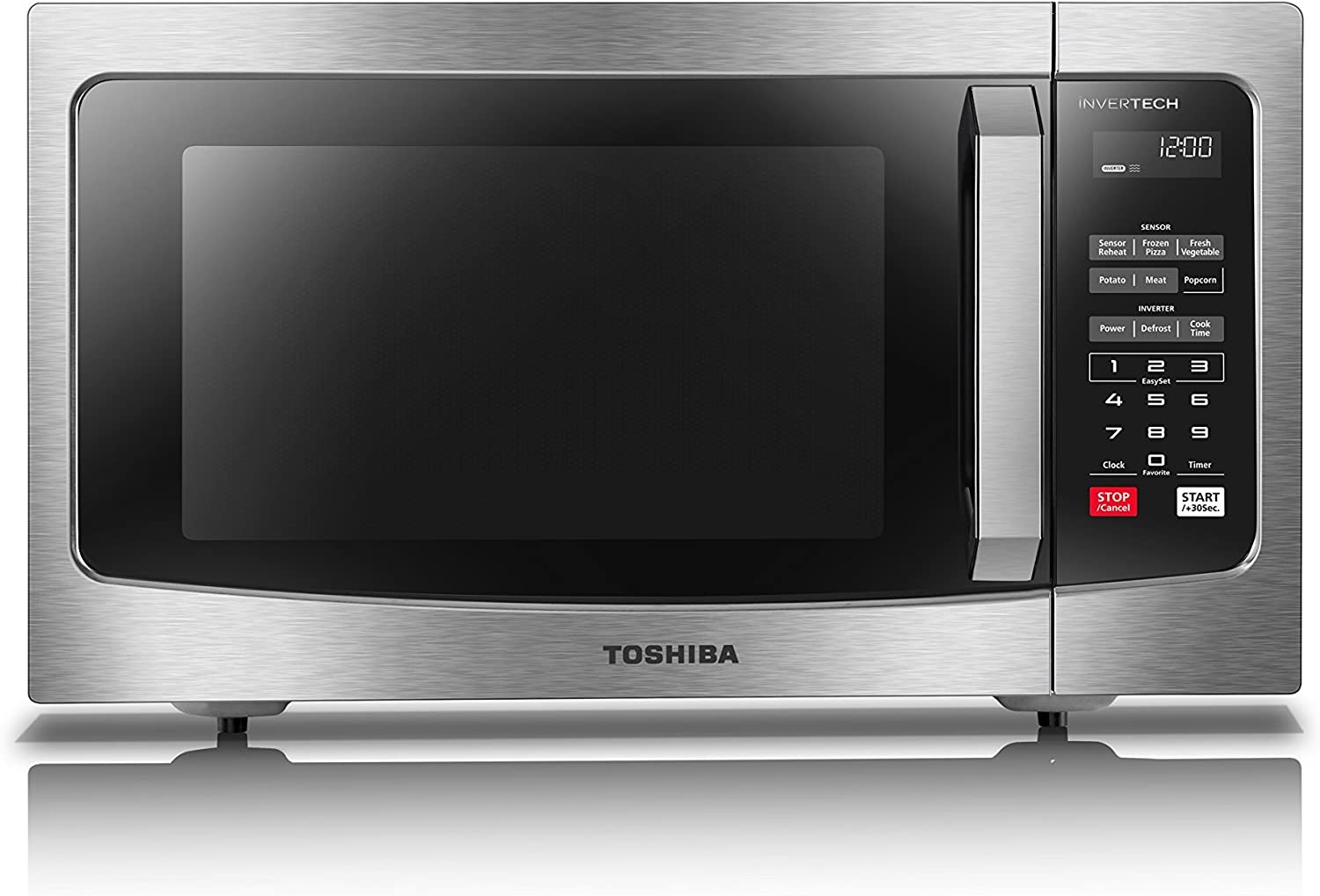 Toshiba ML-EM45PIT(SS) Microwave Oven with Inverter Technology, LCD Display and Smart Sensor, 1.6 Cu.ft, Stainless Steel