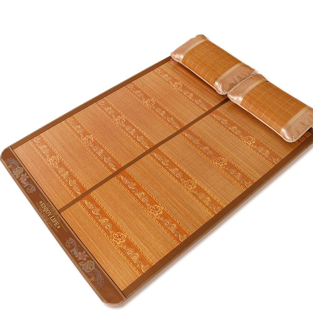 WENZHE Matratzen Sommerschlafmatte Sommer- Matratze Bambus Schlafmatte Doppelseitig Verfügbar Kühlung Pad Mittlere Naht Faltbar Hautfreundlich Schlafzimmer Doppelbett, 3 Größen Strohmatte Teppiche