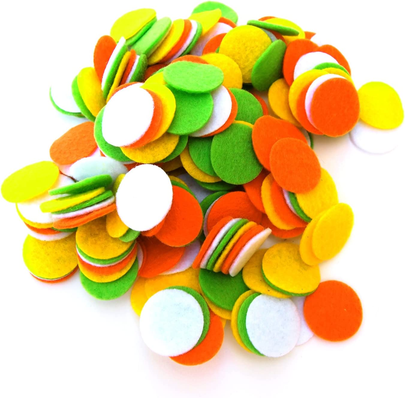 White Playfully Ever After Light Green Orange /& Yellow Craft Felt Circles 1 Inch - 200pc