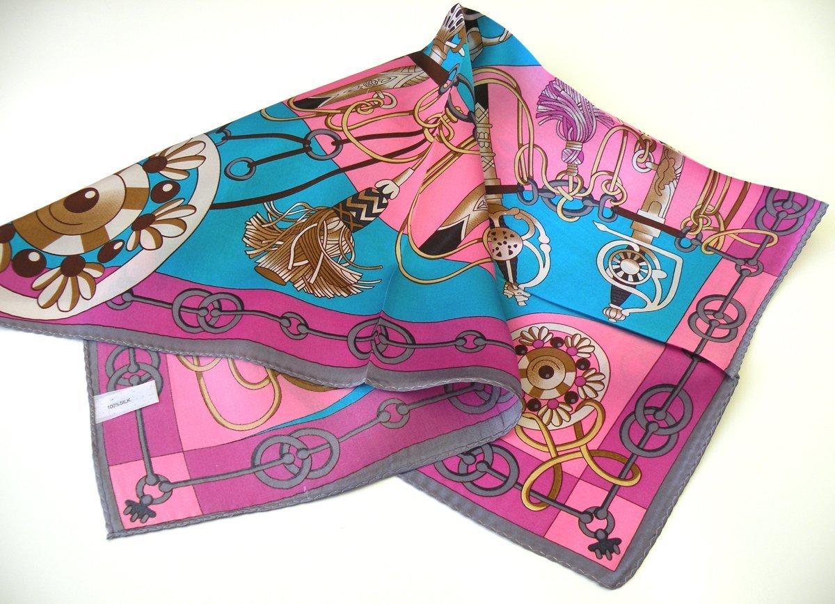 "100% Silk Scarf Square Women's Bandana Neck Dress Shawl Wraps (21"" X 21"")"