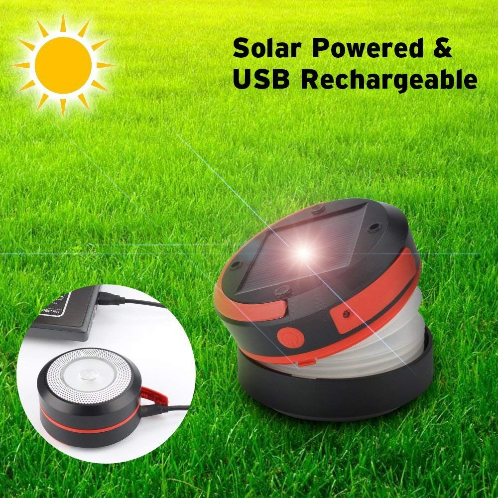 Thorfire Camping Lantern USB Rechargeable Solar Powered Emergency Light LED Camping Tent Light Lamp Portable Flashlight Safe Light for Camping Hiking Jogging Night Walking -CL04 by Thorfire (Image #4)