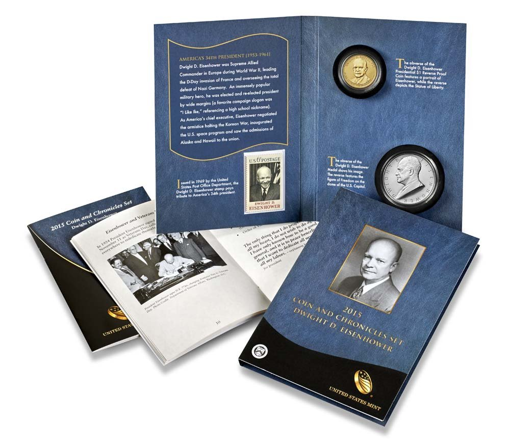 2015 Eisenhower Coin /& Chronicles Set Limited Mintage Of 17,000