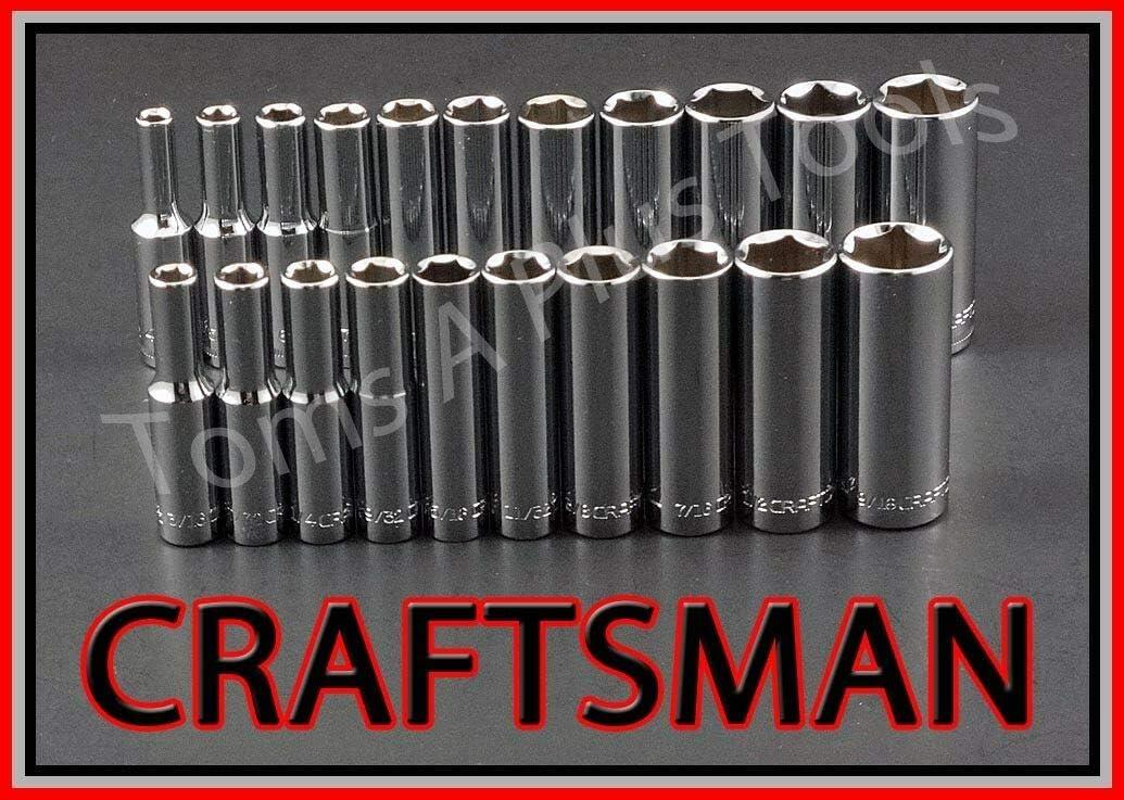 "CRAFTSMAN TOOLS 21pc 1//4/"" Dr DEEP 6pt SAE /& METRIC ratchet wrench socket set !"