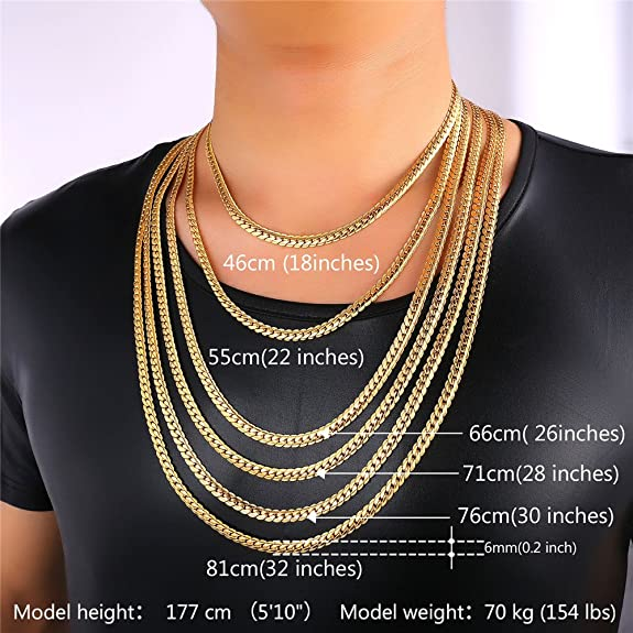 Amazon U7 18K Gold Plated Chain Men Summer Jewelry 6MM Unique