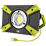 LE Portable LED Work Light, 15W, Rechargeable Outdoor Flood Light, 4400mAh Power Bank for Hiking, Working, Car Repairing…