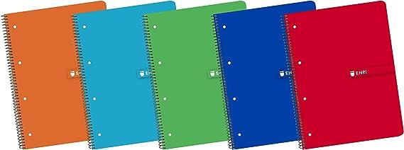 Enri 400058201 - Pack de 5 cuadernos espiral, tapa blanda, A4+, 24 x 32 cm, multicolor: Amazon.es: Oficina y papelería