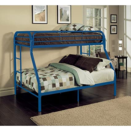 Amazon Com Major Q Blue Modern Metal Tube Supported Twin Over Full