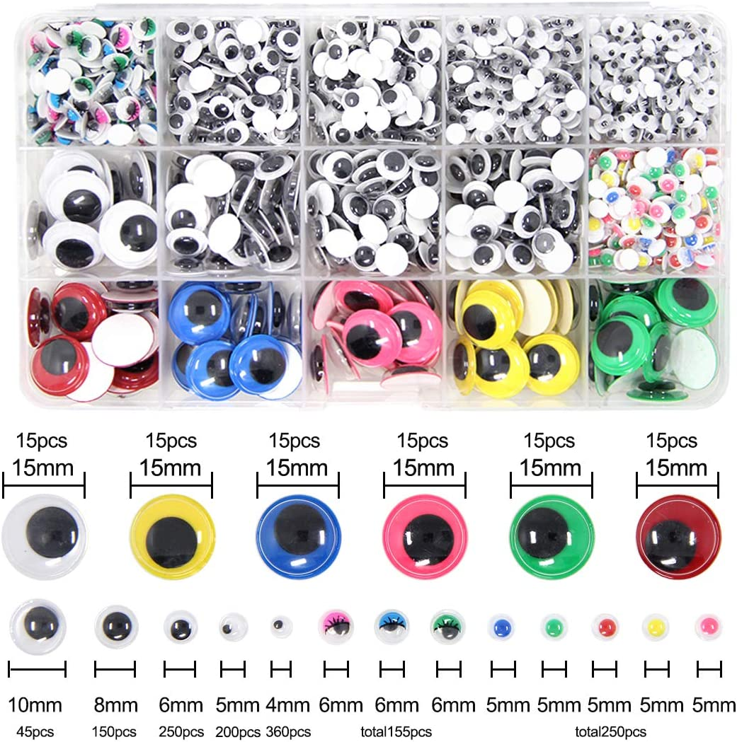 1500 Pieces Googly Wiggle Eyes Self Adhesive BetterJonny Wobbly Eyes for Craft Sticker Multi Colors and Sizes for DIY Scrapbooking Crafts Toy Accessories