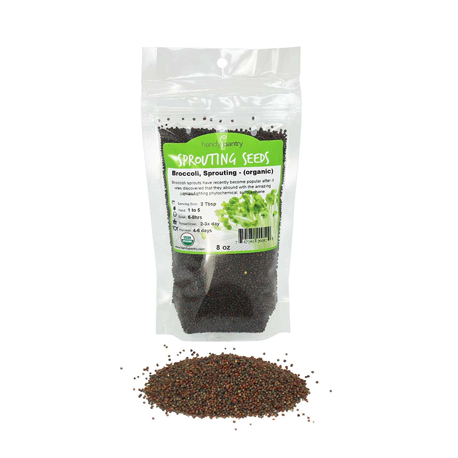 Organic Broccoli Sprouting Seeds By Handy Pantry | 8 oz. Resealable Bag | Non-GMO Broccoli Sprouts Seeds, Contains Sulforaphane
