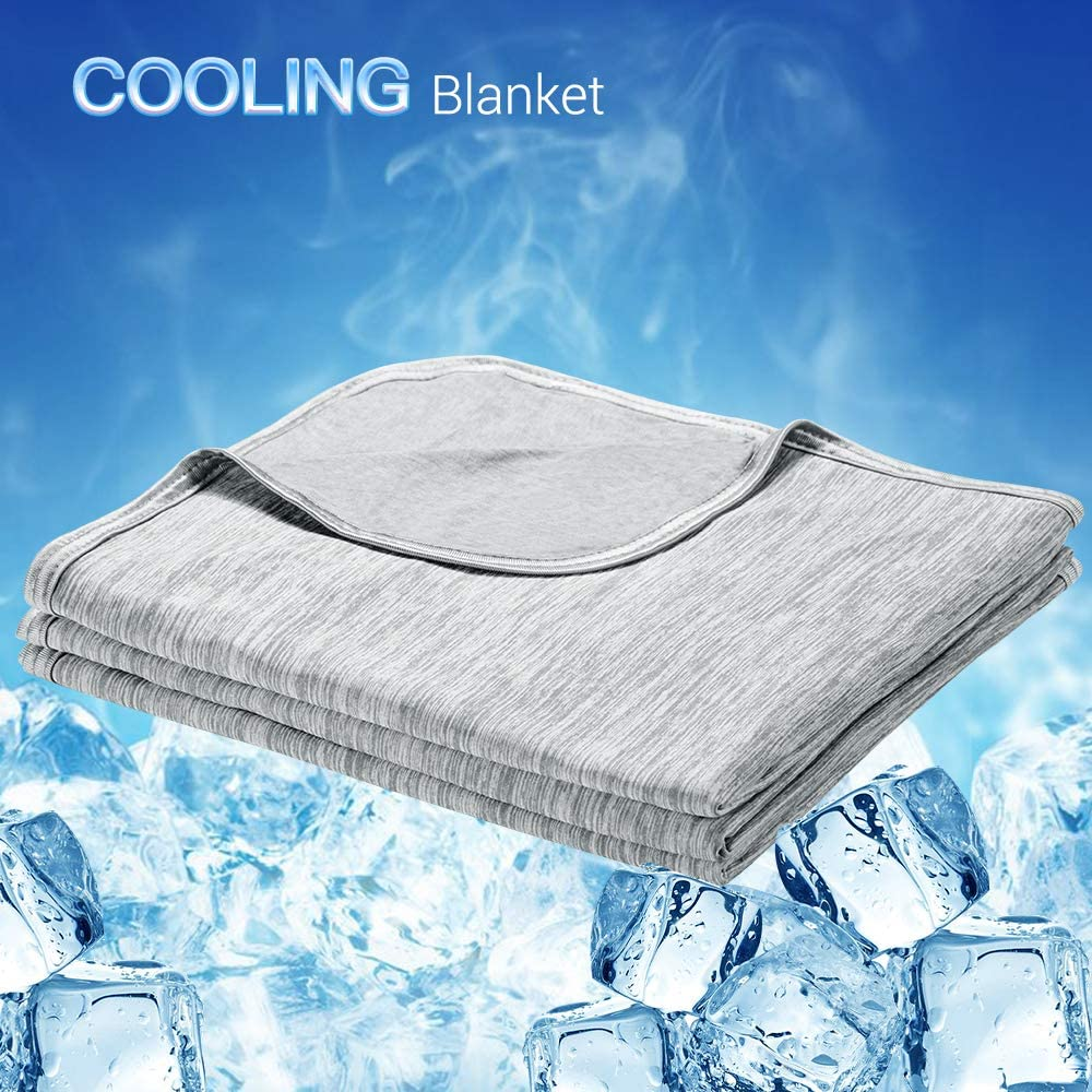 LUXEAR Cooling Blanket, Revolutionary Cool-to-Touch Technology Q-MAX>0.4 Summer blanket, 51 X 67 in Double Side Design Cool Blanket, Breathable Comfortable Bed Blanket for Adults, Children, Baby- Gray