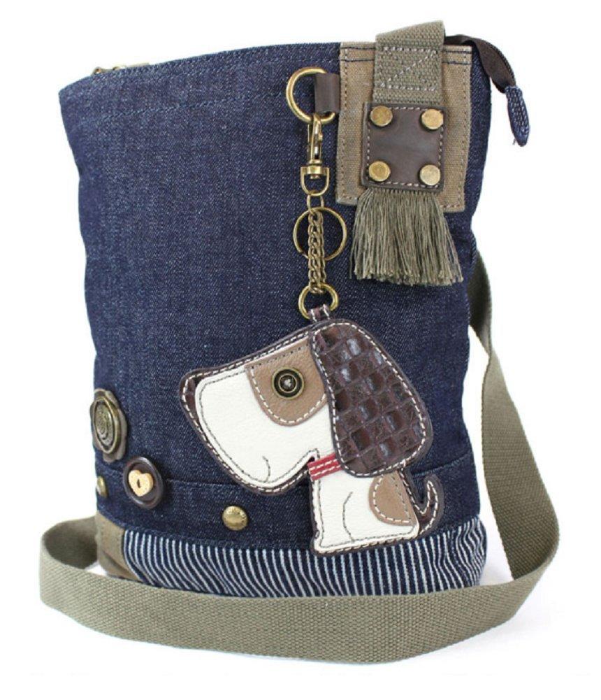 Chala Patch Crossbody, Washed Canvas Handbag, Zipper Top , Animal Prints (Dog - Denim)