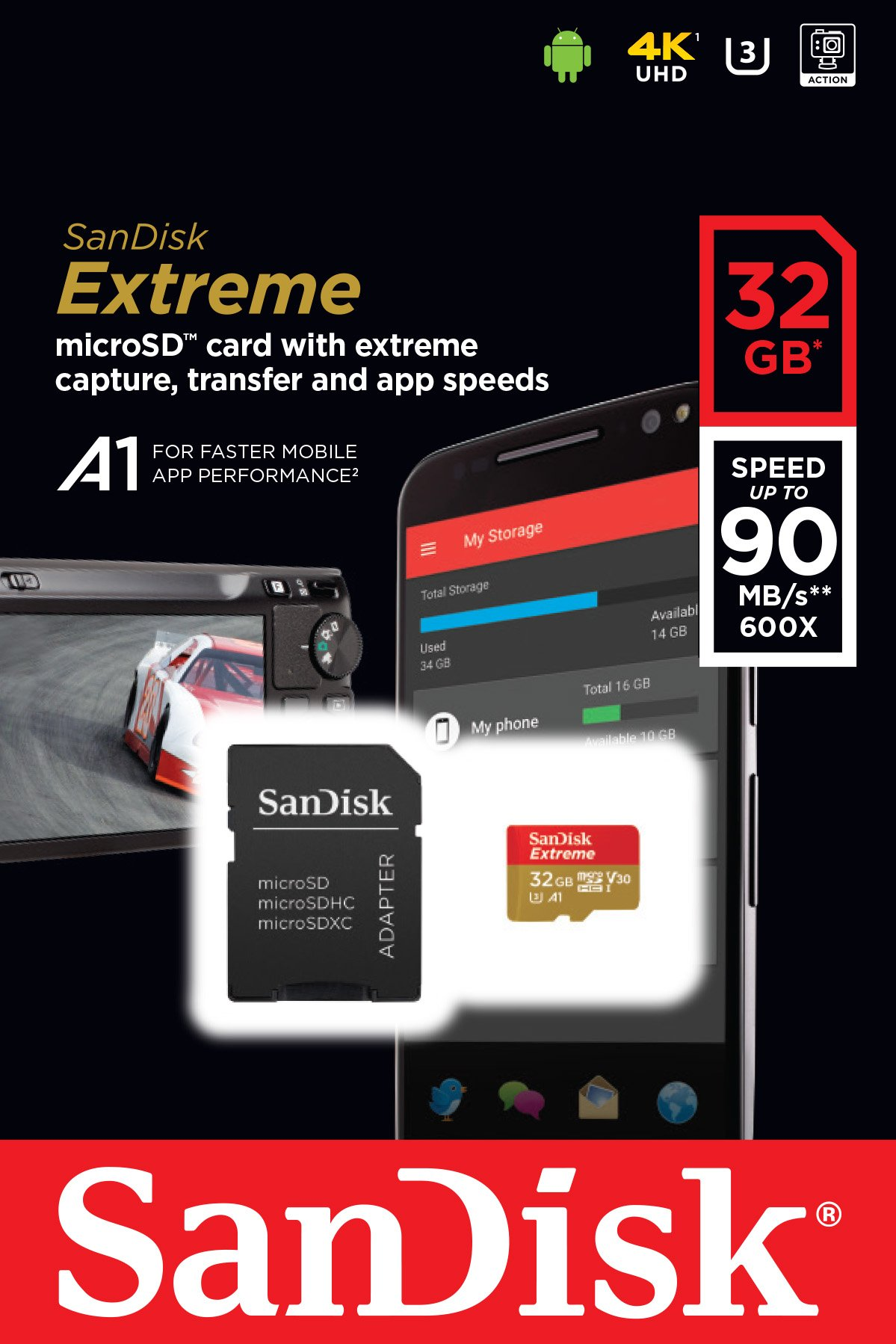 Sandisk extreme microsd uhs-3 card [newest version] 4 ideal for 4k uhd and full hd video2 transfer speeds of up to 100mb/s rescuepro deluxe data recovery software
