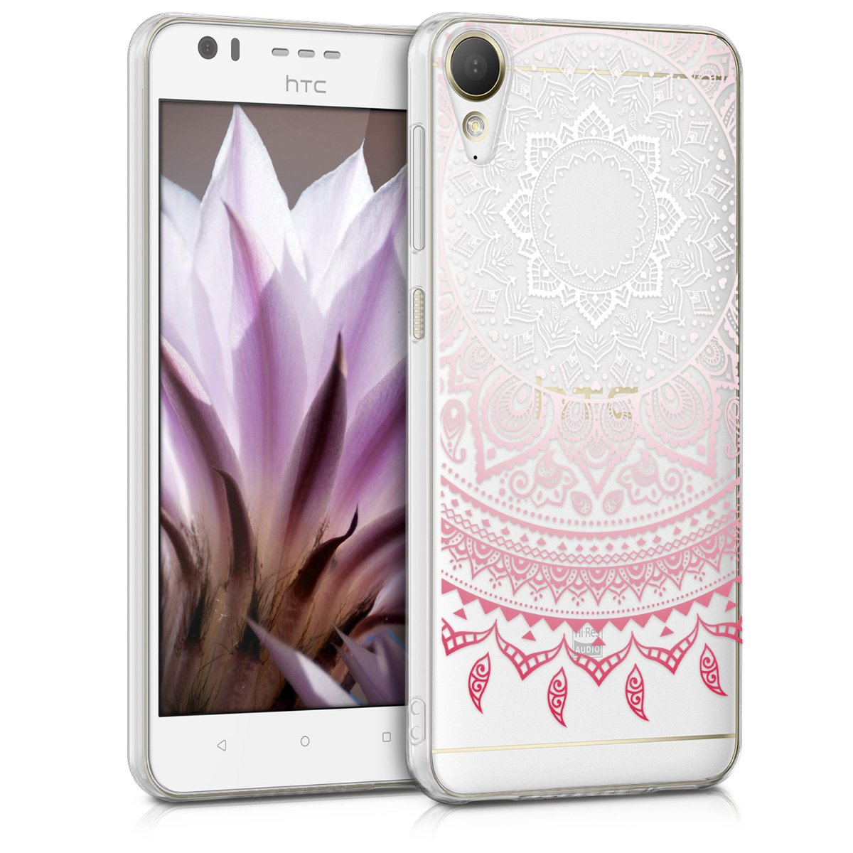 kwmobile TPU Silicone Case for HTC Desire 10 Lifestyle - Crystal Clear Smartphone Back Case Protective Cover - Light Pink/White/Transparent
