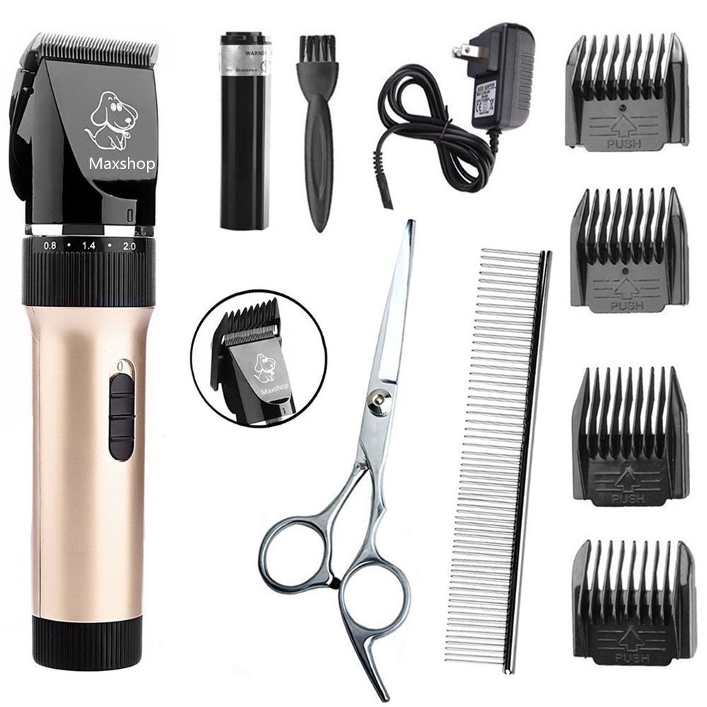 Maxshop Dog Cat Clippers, Low Noise Rechargeable Cordless Animal Clippers - Professional Pet Grooming Clippers Kit with Scissor, Comb and Detachable Blades(gold)