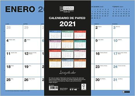 MIQUELRIUS - Calendario de Pared 2021 Chromat - Español, A3 420 x 296 mm con espacio para escribir y apuntar, Un color por mes: Amazon.es: Oficina y papelería