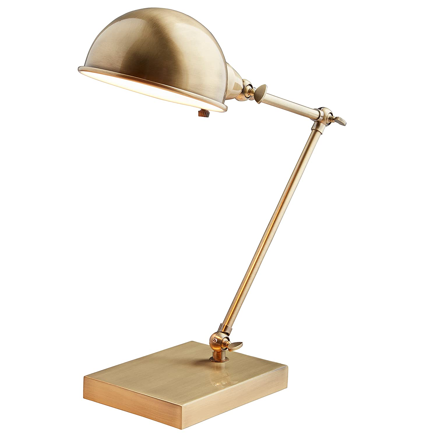 Stone & Beam Vintage Task Lamp With Bulb, 14H, Antiqued Brass 14H Adesso AF43446