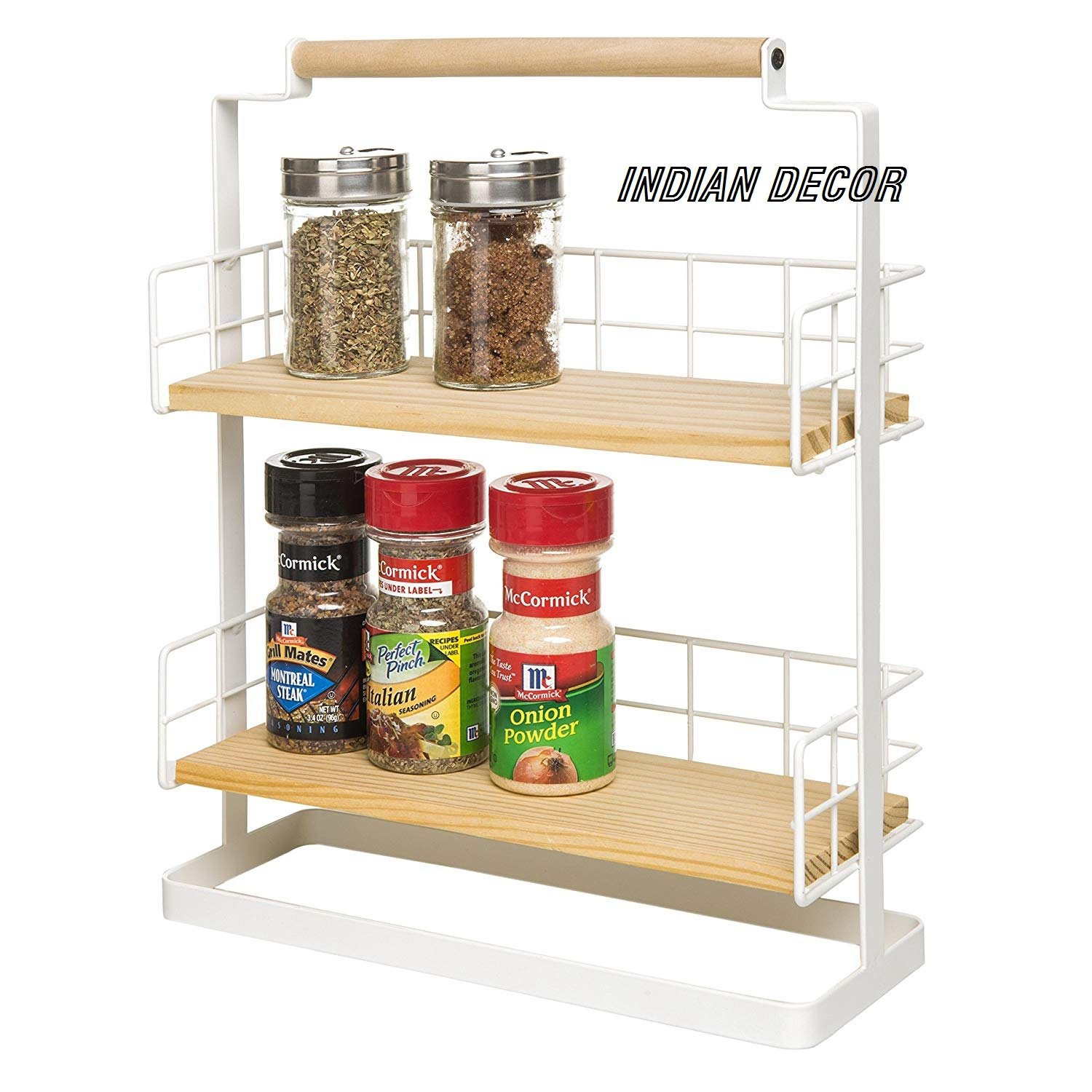 Buy indian decor 1310 two tier countertop spice rack condiment shelf kitchen display rack kitchen storage ideas white online at low prices in india