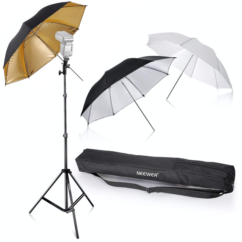 Neewer Flash Mount Three Umbrellas Kit 33''/84cm White Soft/Silver Reflective/Gold Reflective Umbrella for Canon 430EX II,580EX II,Nikon SB600 SB800,Yongnuo YN 560,YN 565,Neewer TT560,TT680 by Neewer