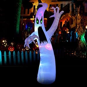 YIHONG 12 Ft Halloween Inflatables Scary Ghost with Color Changing LEDs Decorations, Halloween Blow up Outdoor Party Decor for Yard Garden