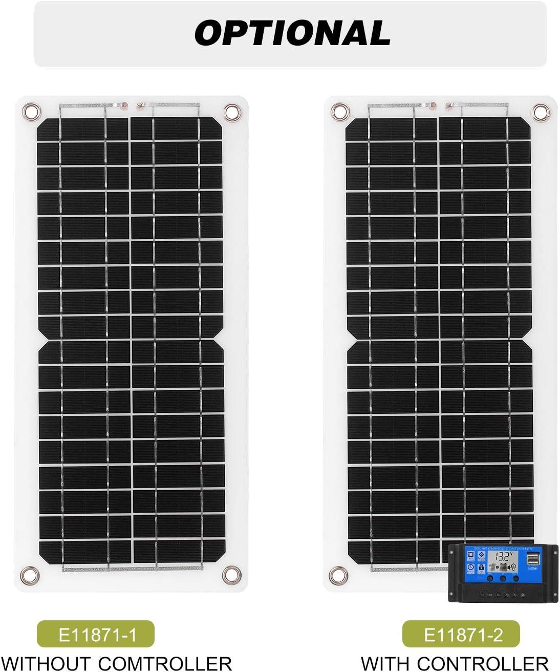 Kecheer Kit de panneau solaire,Solaire panneau USB 12W,module monocristallin avec kits de c/âbles de connexion SAE pour camping car bateau marine