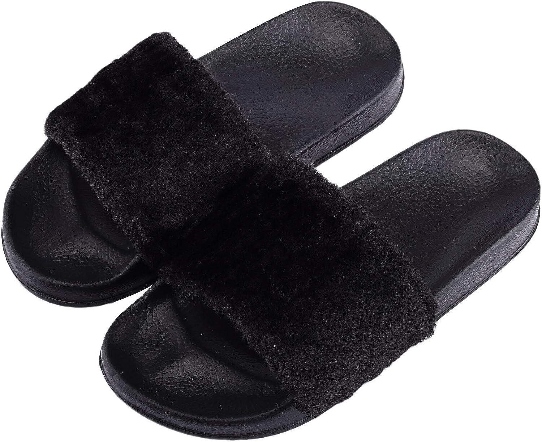 Girls Fur Fluffy Cross Over Sliders Slippers Slip On Furry Mules Sandals Size