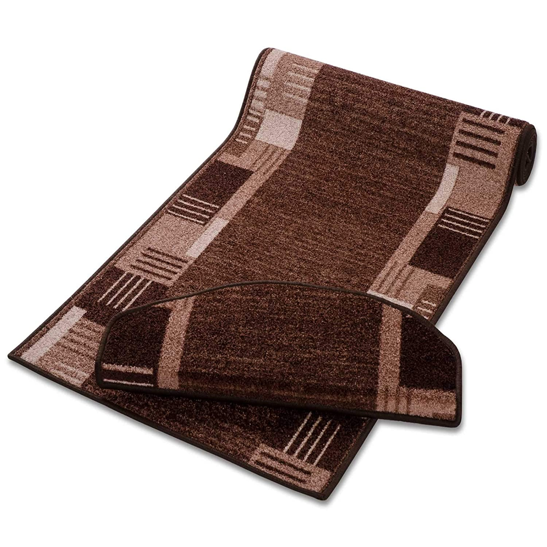 Casa pura Läufer mit Zeitloser Musterung   Braun   Qualitätsprodukt aus Deutschland   Gut Siegel   Kombinierbar mit Stufenmatten   3 Breiten und 27 Längen (100x350cm)