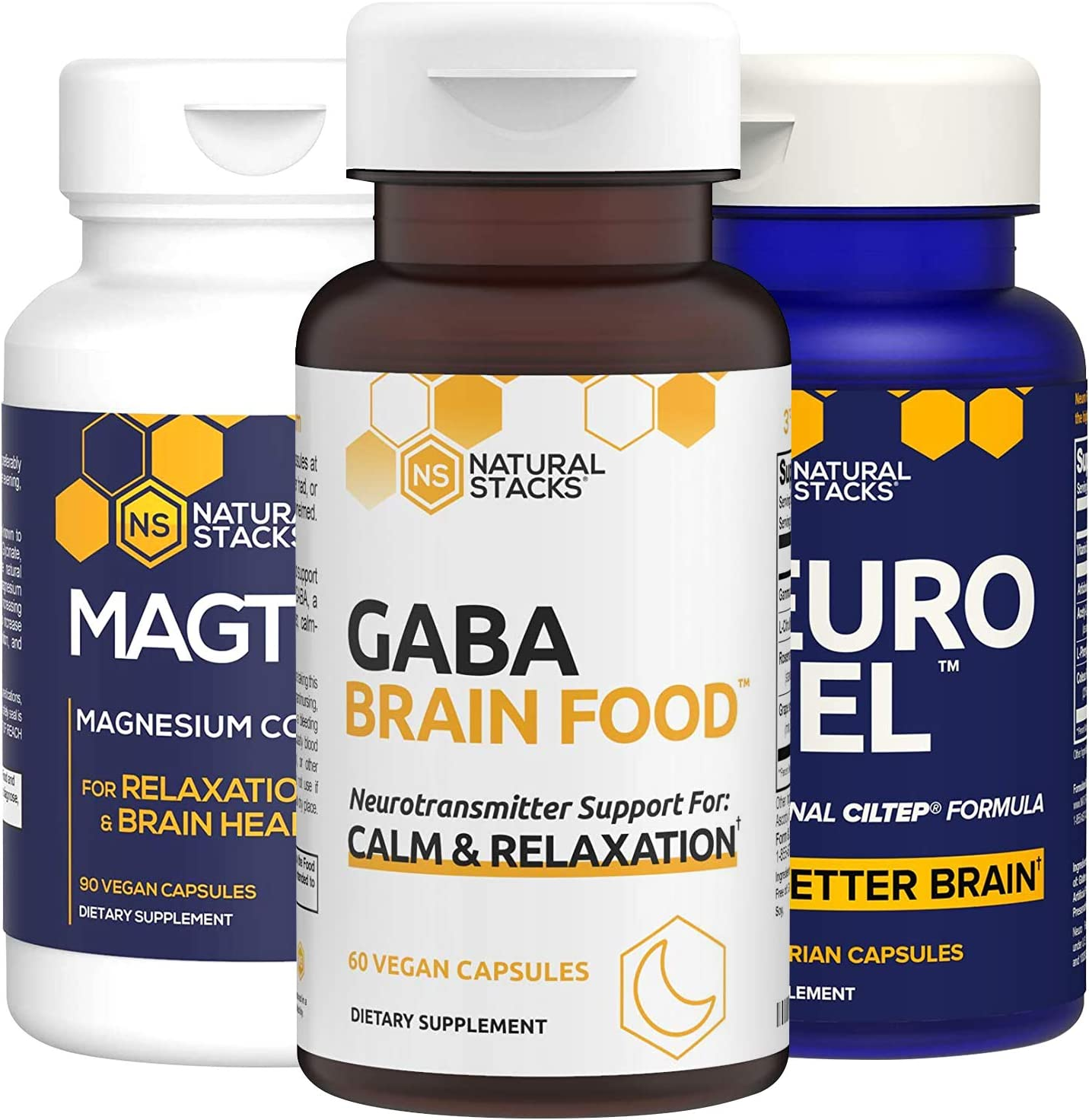Natural Stacks Supplements Bundle - MagTech Magnesium (90ct), NeuroFuel Brain Supplement (45ct), GABA Brain Food (60ct) - Better Sleep, Improved Focus, Memory, and Motivation, Muscle Recovery