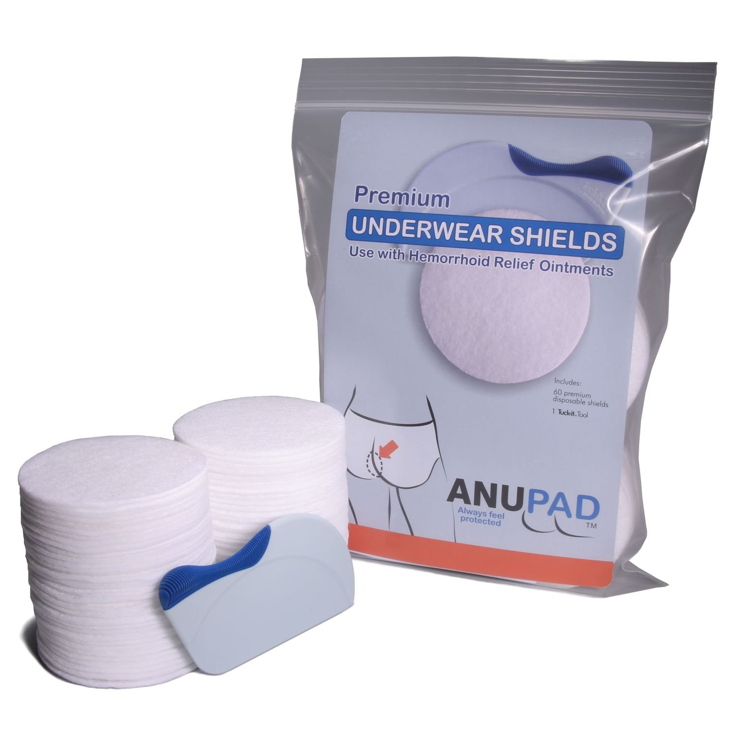 ANUPAD - Stop The Mess Hemorrhoid Creams Make, Shields and Protects Your Underwear, Use with Preparation H, Includes Premium Shields plus Tuck-it Tool (60 Pack)
