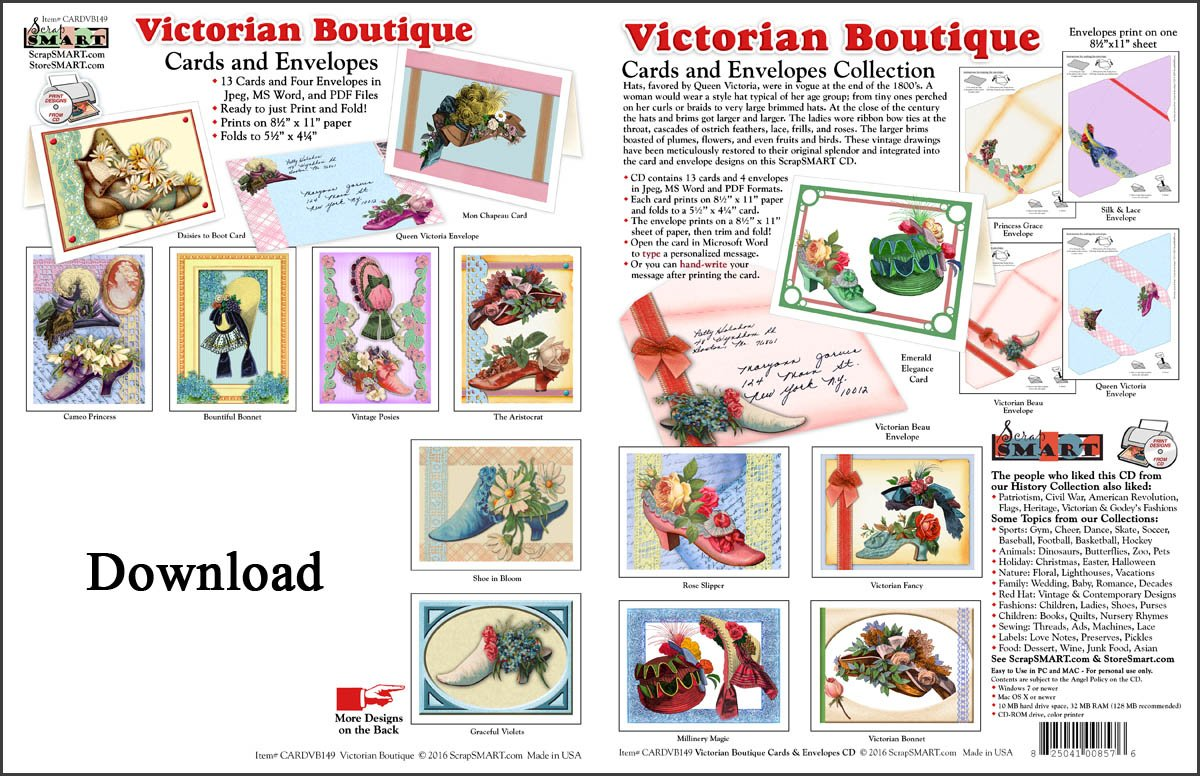 ScrapSMART - Victorian Boutique Cards & Envelopes software collection - Microsoft Word, Jpeg, PDF files for Mac [Download] by ScrapSMART