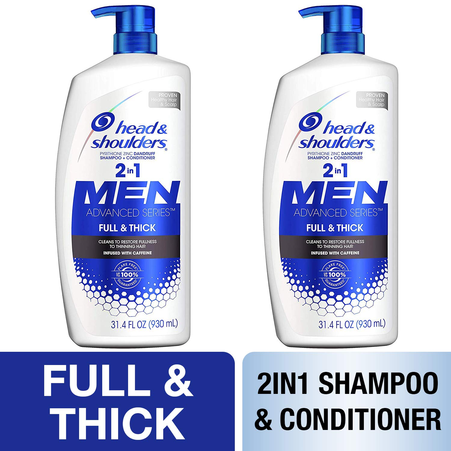 Head and Shoulders Shampoo, Anti Dandruff Treatment and Scalp Care, Full and Thick, 32.1 fl oz, Twin Pack by Head & Shoulders