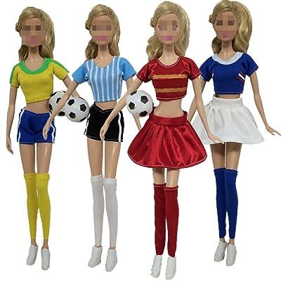 Lance Home®4 Mode Ensemble À La Main Casual Vêtements De Football Maillots Costume À Manches Courtes Pantalon pour Barbie Poupées Poupées Styles Aléatoires