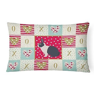 Caroline's Treasures CK5385PW1216 Dutch Rabbit Love Canvas Fabric Decorative Pillow, 12H x16W, Multicolor : Garden & Outdoor