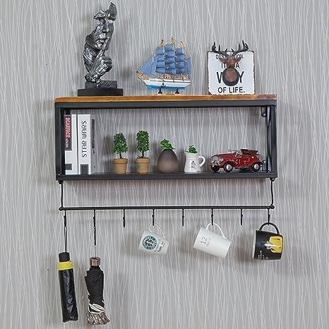 NM Mensola in legno massello, Mensole in ferro retro con parete ...
