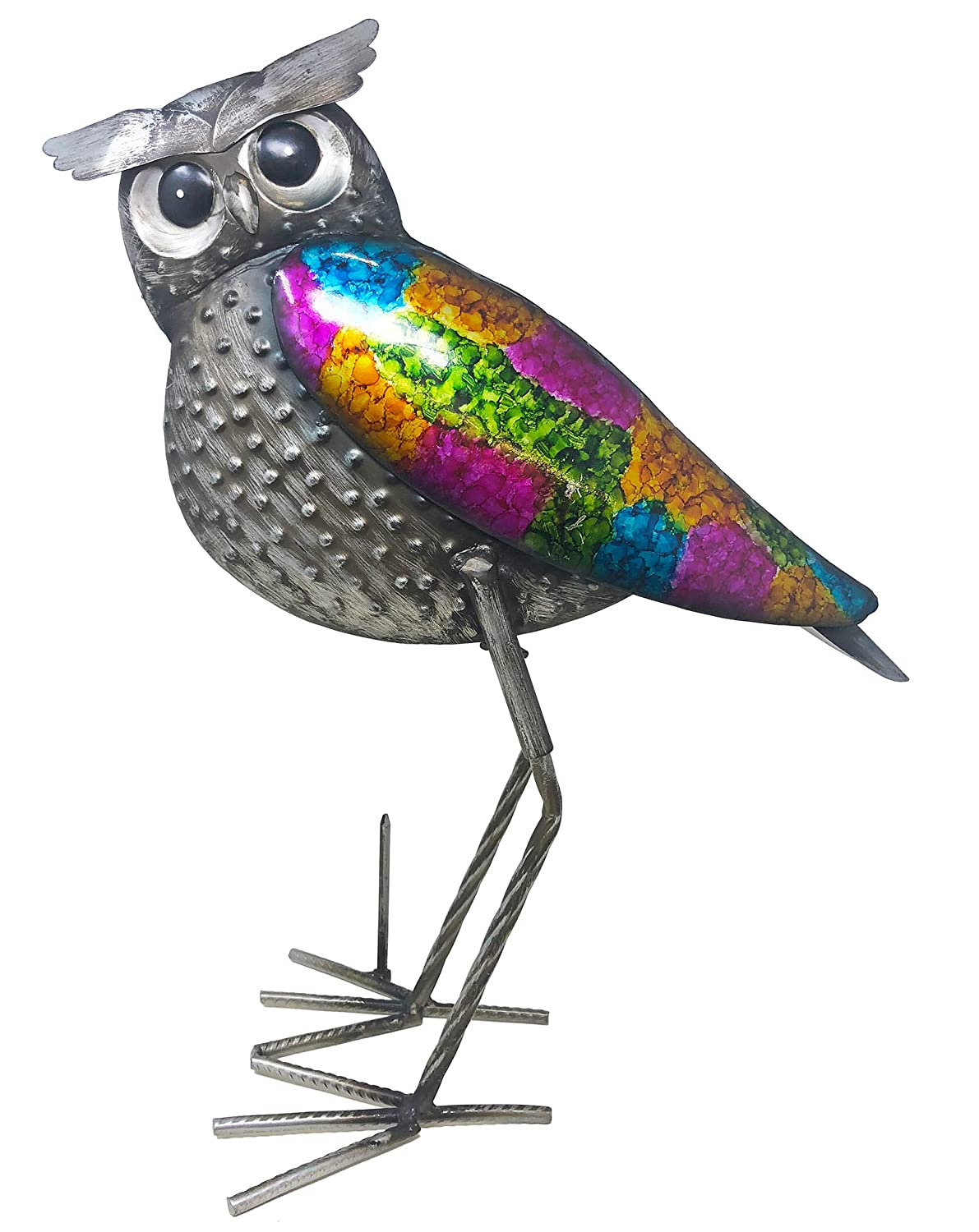Decorative Iron Artwork for Homes Large 18 Multi-Color Owl SEVENM Metal Owl Sculpture Stable Standing Base with Spike Gardens Living Rooms Rustic Farmhouse Handmade Design Kitchens