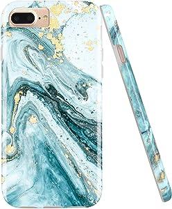 JIAXIUFEN Gold Sparkle Glitter Blue Marble Desgin Slim Shockproof Flexible Bumper TPU Soft Case Rubber Silicone Cover Phone Case for iPhone 7 Plus/iPhone 8 Plus/6 Plus/6S Plus