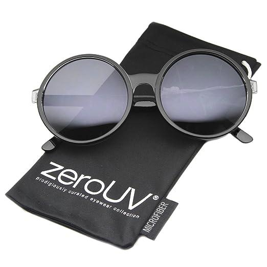 8e323897e9 Retro Oversize Transparent Nose Bridge Colored Mirror Lens Round Sunglasses  57mm (Black Smoke)