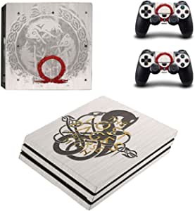 ملصق غلاف بتصميم غاد اوف وور لجهاز Playstation 4 (برو) من سوني واذرع التحكم عن بعد