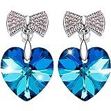 "SIVERY "" Love Heart"" Stud Earrings Made with Swarovski Crystals, Jewellery for Women, Gifts for Women, earrings women"