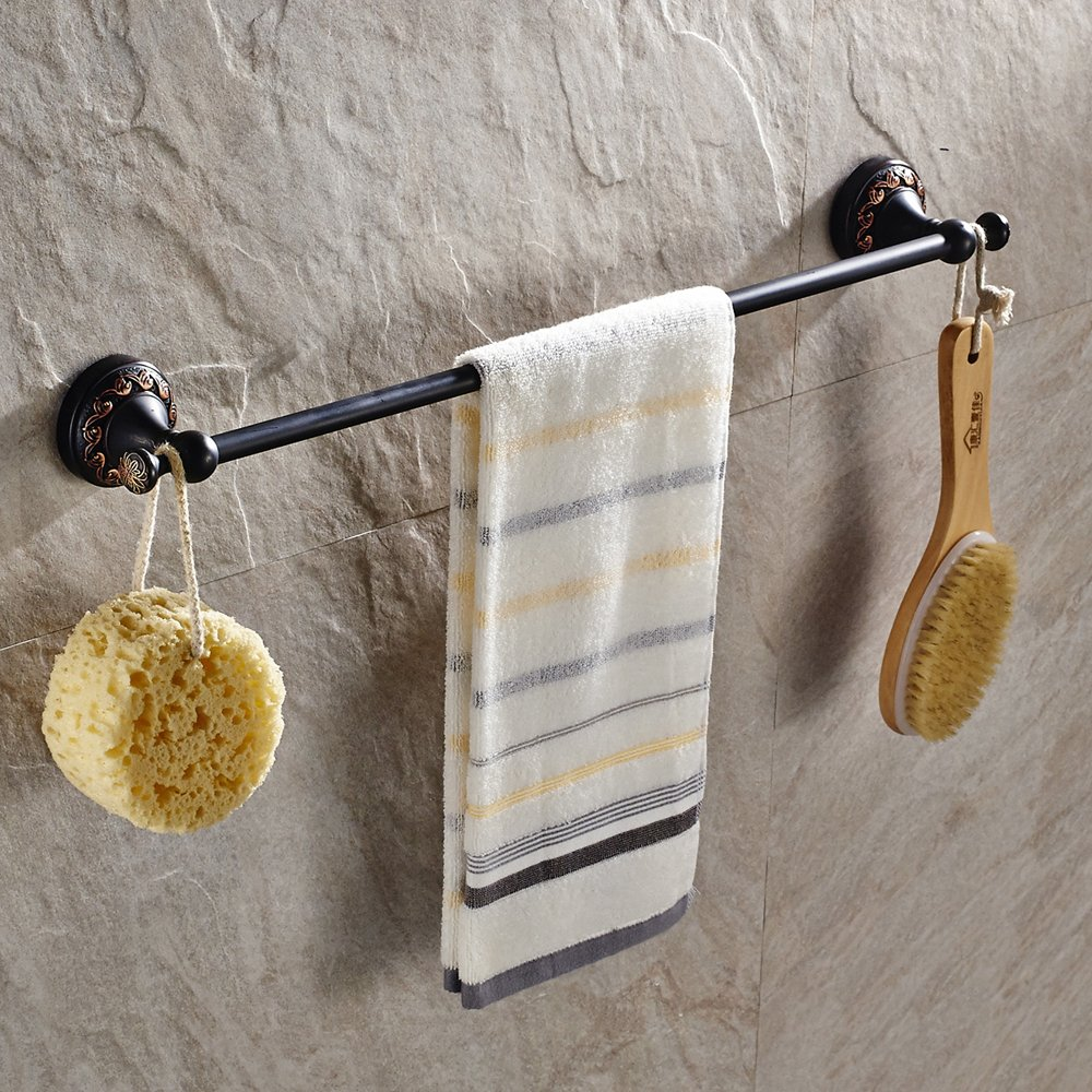 Short Towel Ring Towel Hook Classic Accessories Kit Wall Mounted Black Finish Toilet Paper Holder BATHSIR Brass 4 Piece Bathroom Hardware Set Includes Towel Bar