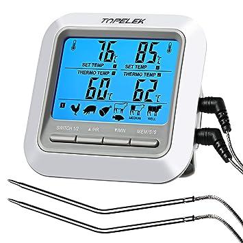TOPELEK Termómetro Digital de Cocina, Termómetro Horno con Sonda Larga para Alimentación, Carne,